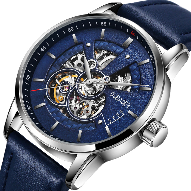 OUBAOER Mens Watches 2021 Mechanical Automatic Top Brand Luxury Tourbillon Self Winding Leather Sport  Wristwatch 3