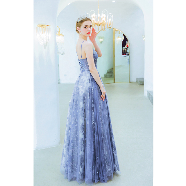 Blue Sequined Dresses Party 2019 Prom A Line Spaghetti Strap Sweetheart Lace Up Back Sleeveless Evening Gowns Abendkleider Stock 1