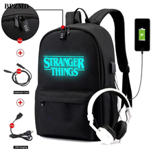 Luminous Stranger Things Backpack Multifunction USB Charging Anti-theft Laptop Bags for Teenage School Travel Rucksack