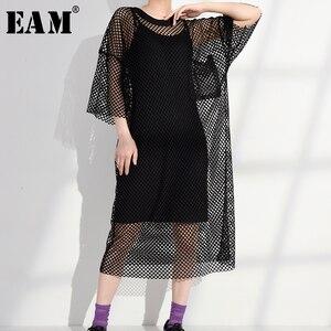 [EAM] femmes évider Perpective grande taille robe nouveau col rond trois-quarts manches coupe ample mode printemps été 2020 1W9550
