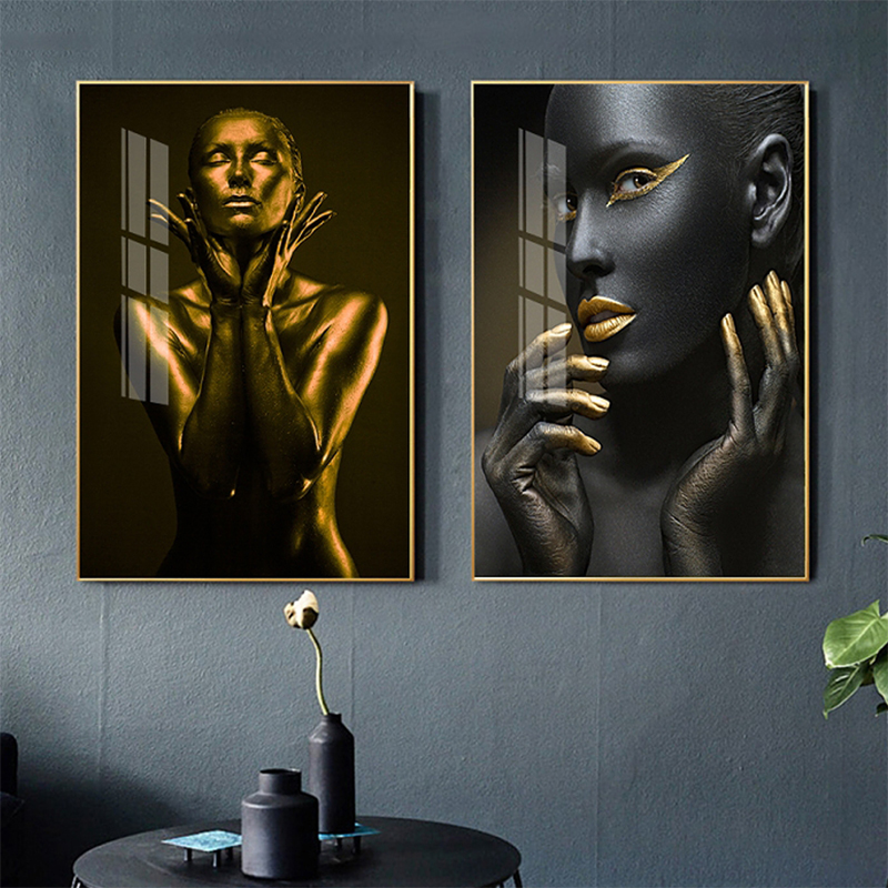 Black Gold Nude African Art Woman Modern Home Decoration Canvas Painting Retro Golden and Black Style Nordic Poster Print 2-30