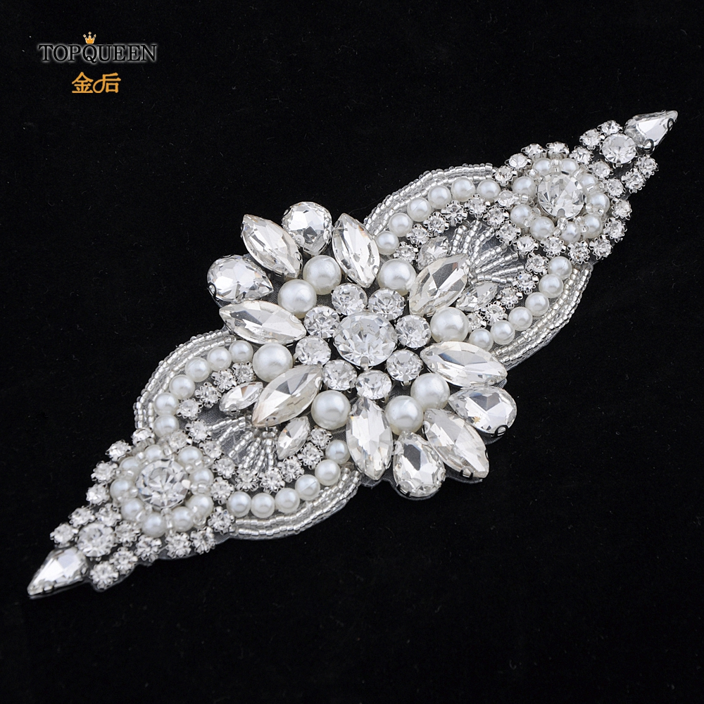 TOPQUEEN  Crystal Womens Belt Sash Belt Trims Wedding Belt Rhinestone Belt Applique Pearl Belts For Women  Bridal Decor S05B-a