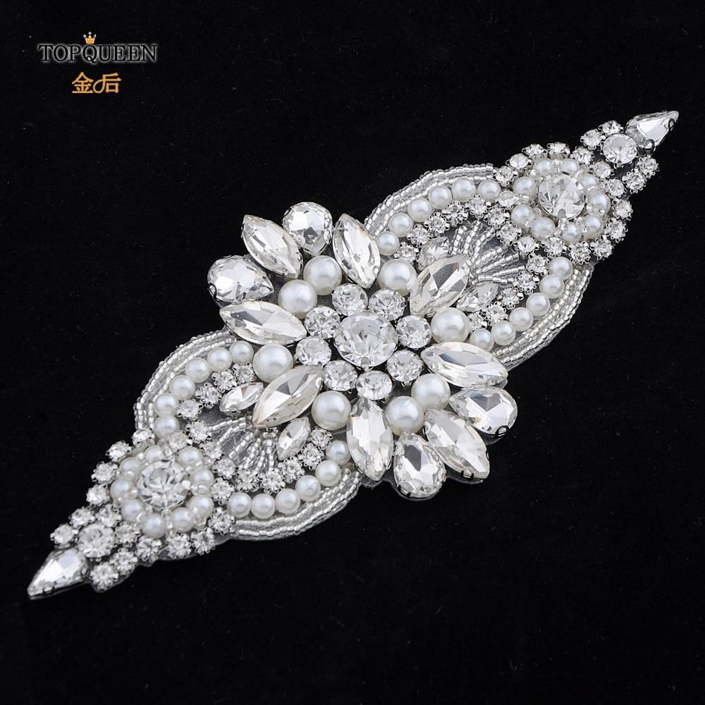 TOPQUEEN  Crystal Womens Belt Sash Belt Trims Wedding Belt Rhinestone Belt Applique Pearl Belts For Women  Bridal Decor S05B-a