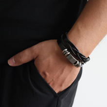 New Simple Leather Bracelet Men Jewelry Fashion Wrap Bracelets Male Bijoux Femme Wristband Punk Style Black Brown Unisex