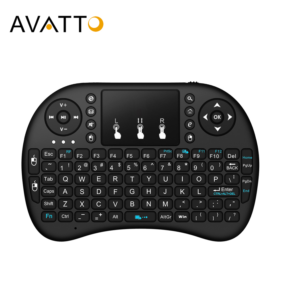 [AVATTO] English,Hebrew,Russian,Arabic I8 Mini Gaming Keyboard With 2.4G Wireless TouchPad For PC,Laptop,Android Box,Smart TV