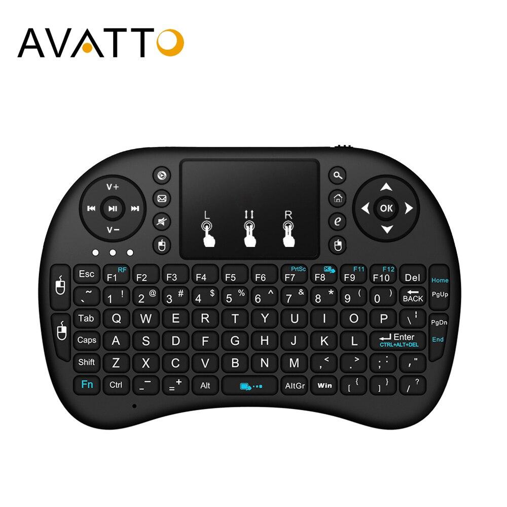 [AVATTO] inglés, hebreo, ruso, teclado árabe i8 mini Gaming con almohadilla táctil inalámbrica de 2,4G para PC, ordenador portátil, Android Box, Smart TV