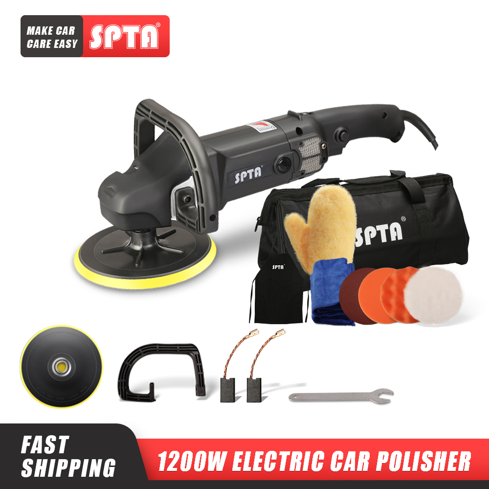 SPTA 7inch Rotary Polisher 110V/ 220V Electric Buffing Polishing Machine with Sponge Pads Adjustable Speed Car Beauty Tool