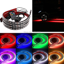 цена на 4x DC12V IP68 RGB 5050 SMD Music Remote Control RGB LED Strip Under Car Tube Underglow Underbody System