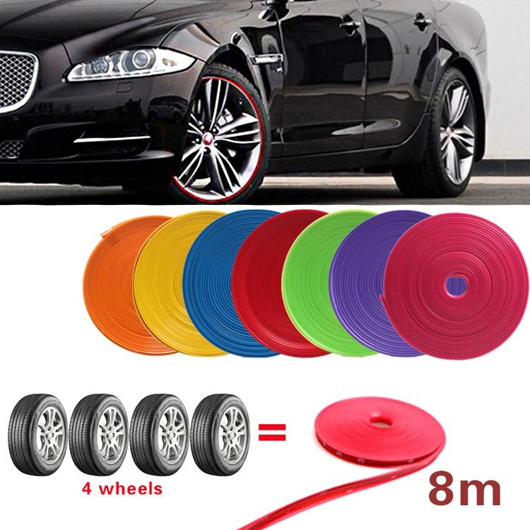 8 м/рулон, Стайлинг автомобиля, ободки, протекторы, Декоративная полоса, резиновая литьевая отделка, ипа, ободки, цветные автомобильные шины, ...