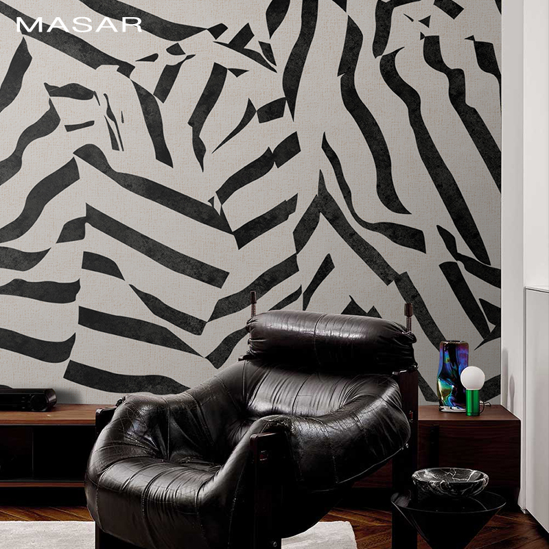 MASAR Creative Zebra Stripes Interlaced Mural Sofa Television Bedside Restaurant Background Wall Wallpaper Waterproof