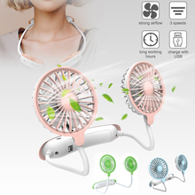 Hands-free hanging neck fan portable neckband fan USB rechargeable 3 speed wearable personal