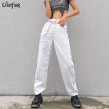 Waatfaak выдалбливают джинсы с высокой талией женские рваные уличные широкие брюки для ног белая цепочка на ремешке из джинсовой ткани джинсы женские Карманы Мода