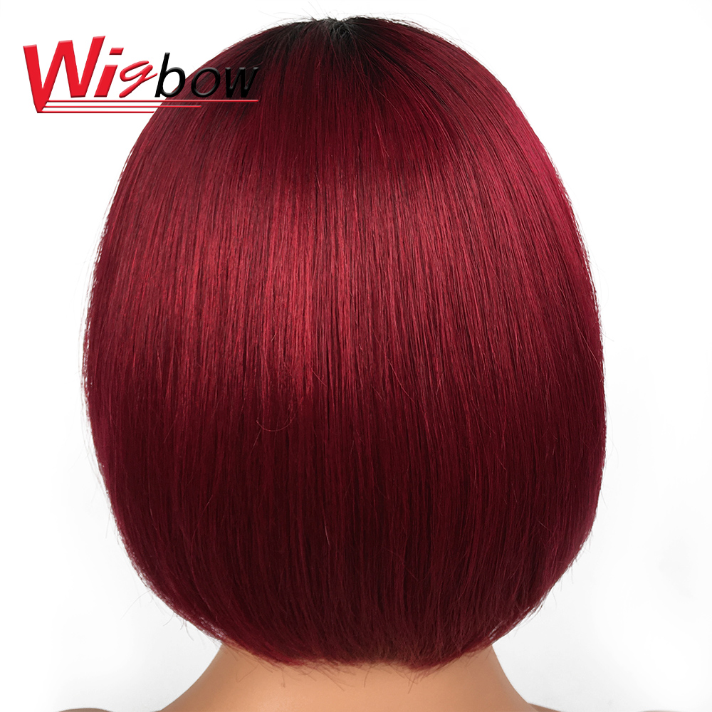 Short Straight Bob Wigs For Black Women Ombre Color Wig 150% Density Straight Blunt Cut Bob Wig With Braizilian Human Hair Wigs