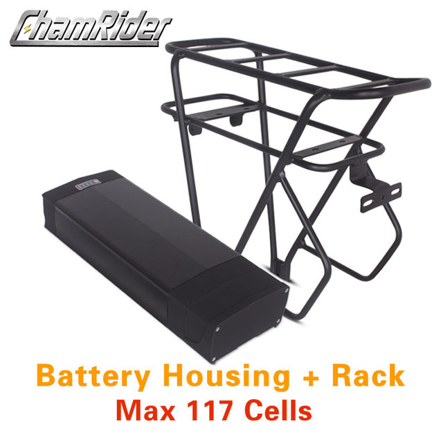 48V ebike battery case 36V 52V 60V 72V Electric bike battery box 5V USB Double Layer luggage rack 10S10P 13S9P 14S8P 16S7P 20S5P