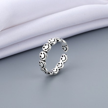 Vintage Ancient Silver Color Happy Smiling Face Open Rings for Women Punk Hip Hop Adjustable