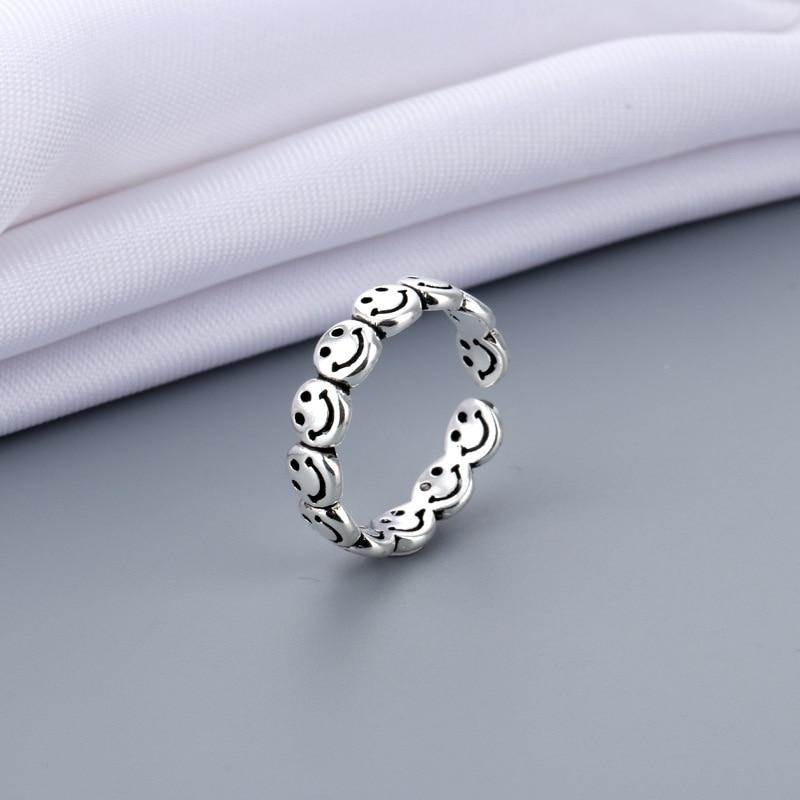 Vintage antigo prata cor feliz sorridente rosto aberto anéis para as mulheres punk hip hop anel ajustável moda jóias melhor presente