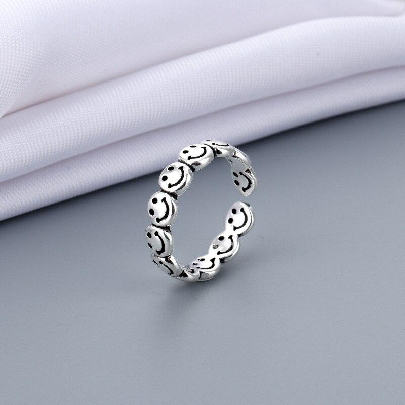 Vintage Oude Zilveren Kleur Gelukkig Lachend Gezicht Open Ringen Voor Vrouwen Punk Hip Hop Verstelbare Ring Mode-sieraden Beste Cadeau