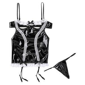 Image 3 - Sissy Men Wetlook Lencería de charol para Cosplay, traje de criada, ligas con volantes de encaje, corsé calado en el pecho, G string
