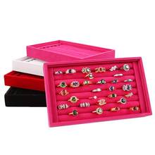 Hot Sales Fashion Portable Velvet Jewelry Ring Jewelry Display Organizer Box Tray Holder Earring Jewelry Storage Case Showcase(China)