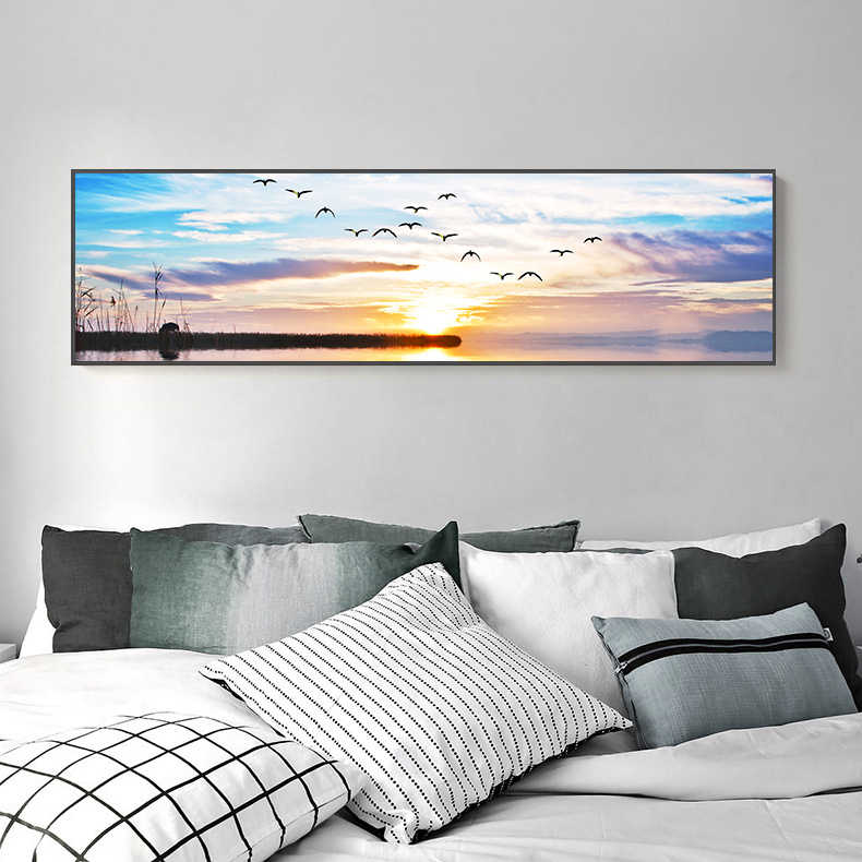 Nature Picture Sea Bridge Sunset Painting Landscape One direction Poster Wall Print Large Led Canvas Art for Living Room