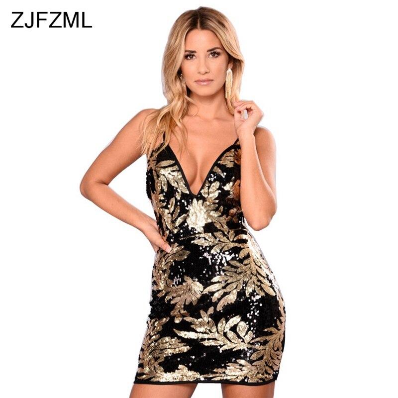 Zjfzml 2017 новое поступление высокой моды праздничное платье женские золотые с v-образным вырезом без рукавов с блестками платье Осень Зеленый спинки мини-платье