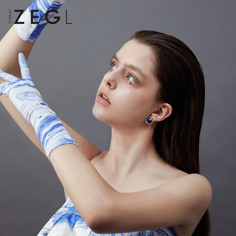 ZEGL étoiles lune boucles d'oreilles actrice lune boucles d'oreilles 2019 nouvelle marée ciel étoilé boucles d'oreilles mode asymétrique boucles d'oreilles - 3