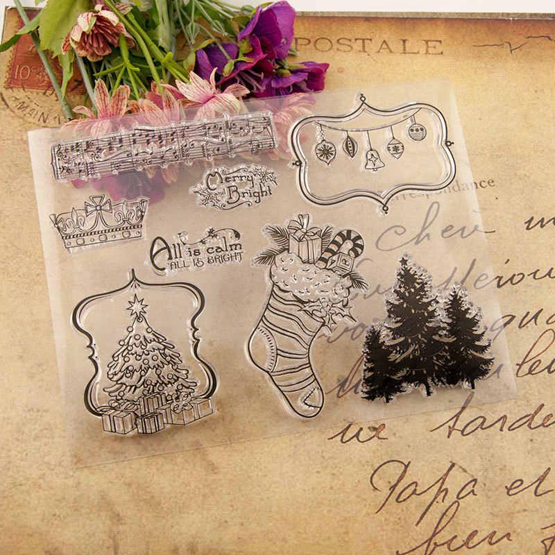 Árbol de Navidad troqueles de corte de Metal calcetines de Navidad sellos claros y troquel conjunto para álbum de recortes Tarjeta de grabado artesanal morir