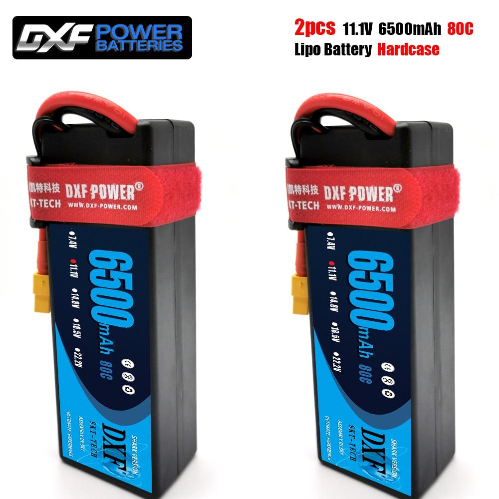 2PCS DXF  3S 11.1V 6500mah 80C MAX 160C Lipo Battery Hardcase  1/10 1/8 Scale For TRXXX Slash 4x4 RC Car Hard Case