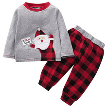 Little Boys Girls Christmas Outfits Newborn Baby Santa Claus Long Sleeve tops red plaid pants Cotton Pajama Sets D20