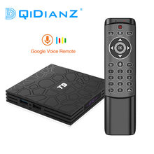 DQiDianZ — Boîtier Smart TV T9, RK3318 Quad Core, 4 Go/32 Go, 4K, WiFi, décodeur connecté Android 8.1/9.0, avec USB 3.0 et télécommande vocale MT12