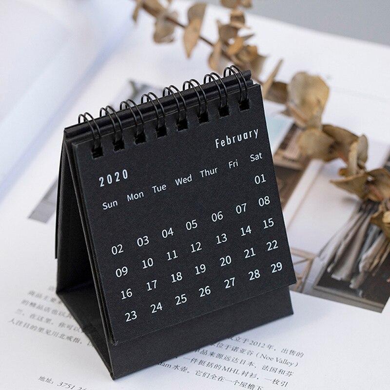 US $1.7 26% OFF 2020 Calendar Black White Grey Series Desktop Calendar Dual Daily Schedule Table Planner School Office Supplies 2020 New Year on