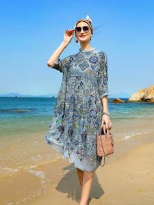 Embroidery Dress Lantern-Sleeves Fashion Women's Summer Vacation Waist Loose S-XL High-End