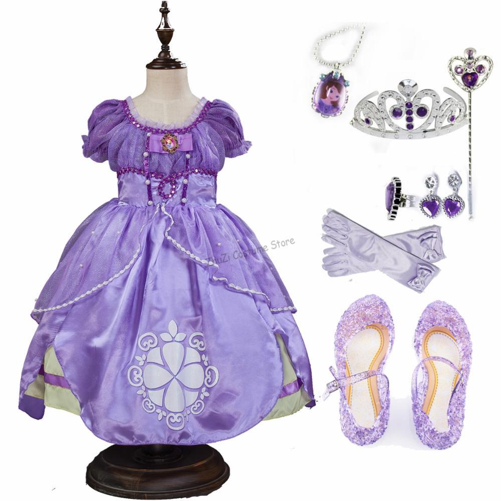 Princess Sofia The First Halloween Rapunzel Sophia Costume Child Kids Birthday Party Dress Pastel Tutu Dress Rapunzel Wig Child