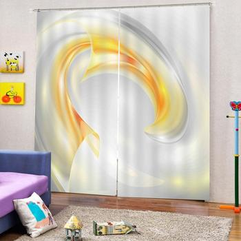 Custom Curtain Decoration 3D Brief Yellow-white Curtains For Bedroom Living room Polyester Room Curtain