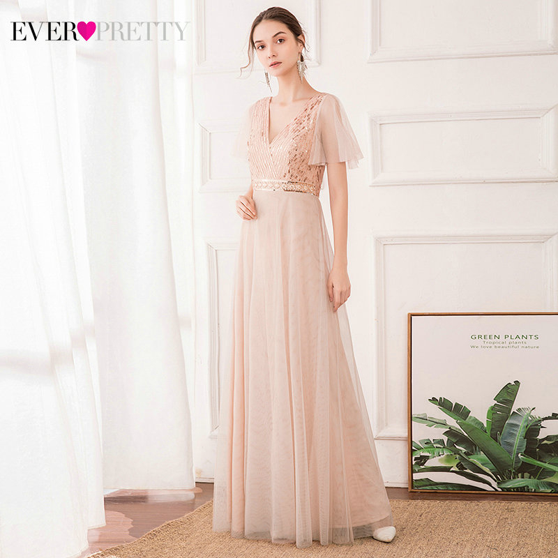 Sparkle Blush Prom Dresses Ever Pretty Sequined Ruffles Sleeve A-Line Double V-Neck Tulle Elegant Party Gowns Vestido De Festa