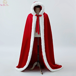 Image 1 - 100% Real Pictures Red Party Evening Long Wraps 2020 New Ivory Wrap Faux Fur Wedding Capes Winter Women Bolero Capa Shawl Stock