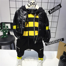 Boys Hoodie Kids Pant Spring Baby Black Autumn And 3PCS Pu-Jacket-Printed WLG