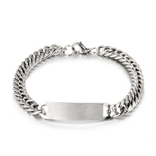 1pcs Punk Stainless Steel Link Chain Bracelets Jewelry For Men Silver Wristband