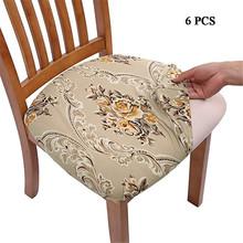 6 sztuka krzesło obejmuje elastan elastyczny ochraniacz na krzesło narzuty świąteczne dekoracje pokrowce na krzesło do pracy na komputerze pokrowce # G7 tanie tanio CN (pochodzenie) PRINTED żakaradowy wyszywana Poliester Bawełna 0901 300tc poszewka na poduszkę Drukuj NIETOKSYCZNE Klasa a