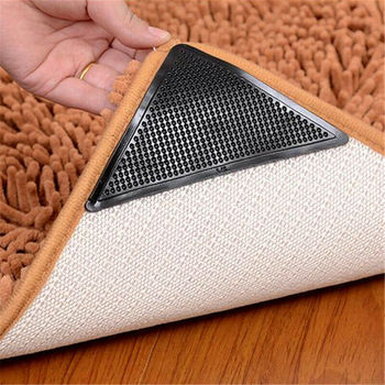 4Pcs Non-slip Carpet Mat Clip Floor Protector Mat Sticker Self-adhesive Reusable Washable Safety Grip Car Perfume Pad image