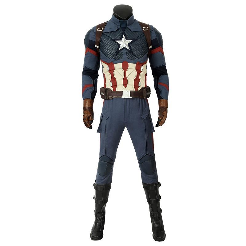 In Stock Avengers 4 Endgame Costume Captain America Steven Rogers Cosplay Jumpsuit Adult Men Superhero Halloween Carnival Outfit