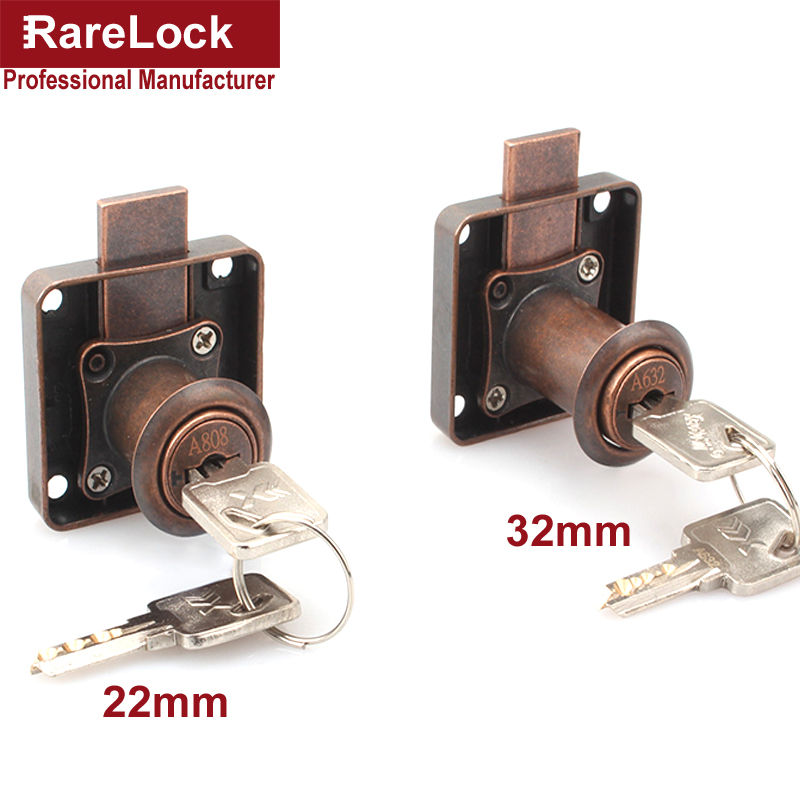 Rarelock Drawer Lock Red Bronze Computer Key Keyed Different DIY Furniture Hardware MMS388 aa-in Locks from Home Improvement