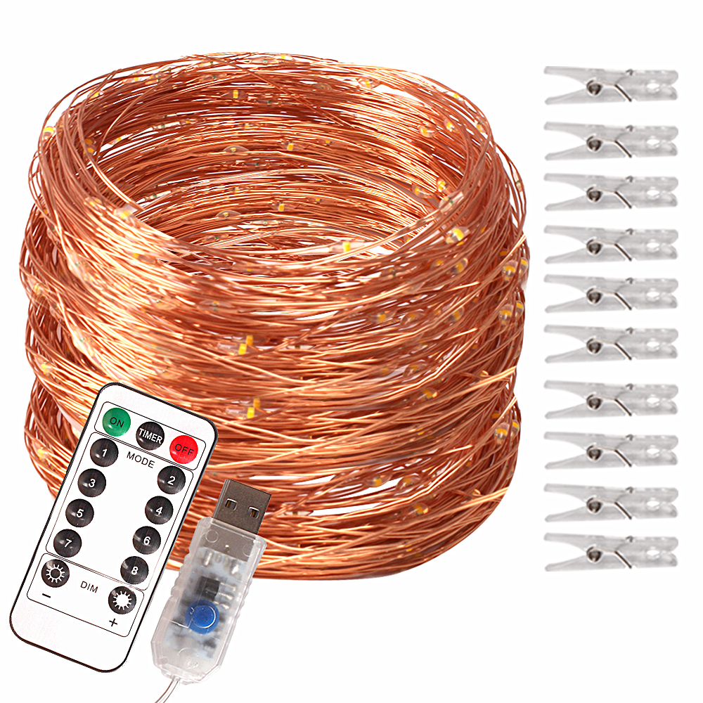Copper Wire 10m 100 LED Photo Clips Fairy Lights LED String USB Christmas Garland Lights Outdoor/Indoor Wedding Party Decoration