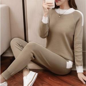 Image 3 - CBAFU outono inverno mulheres treino manga comprida camisola calças terno calças de malha terno tricô P397 conjunto elástico na cintura das mulheres