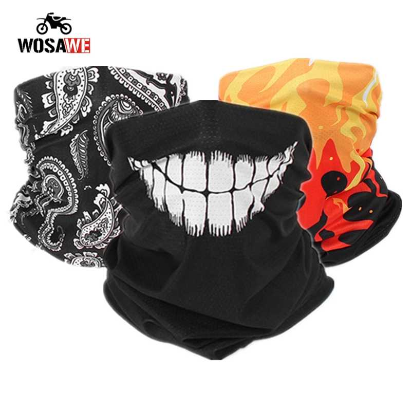 3D Motorcycle Face Mask Cover Shield Seamless Neck Gaiter Outdoor Cycling Hiking Fishing Tube Bandana Balaclava Scarf Men Women