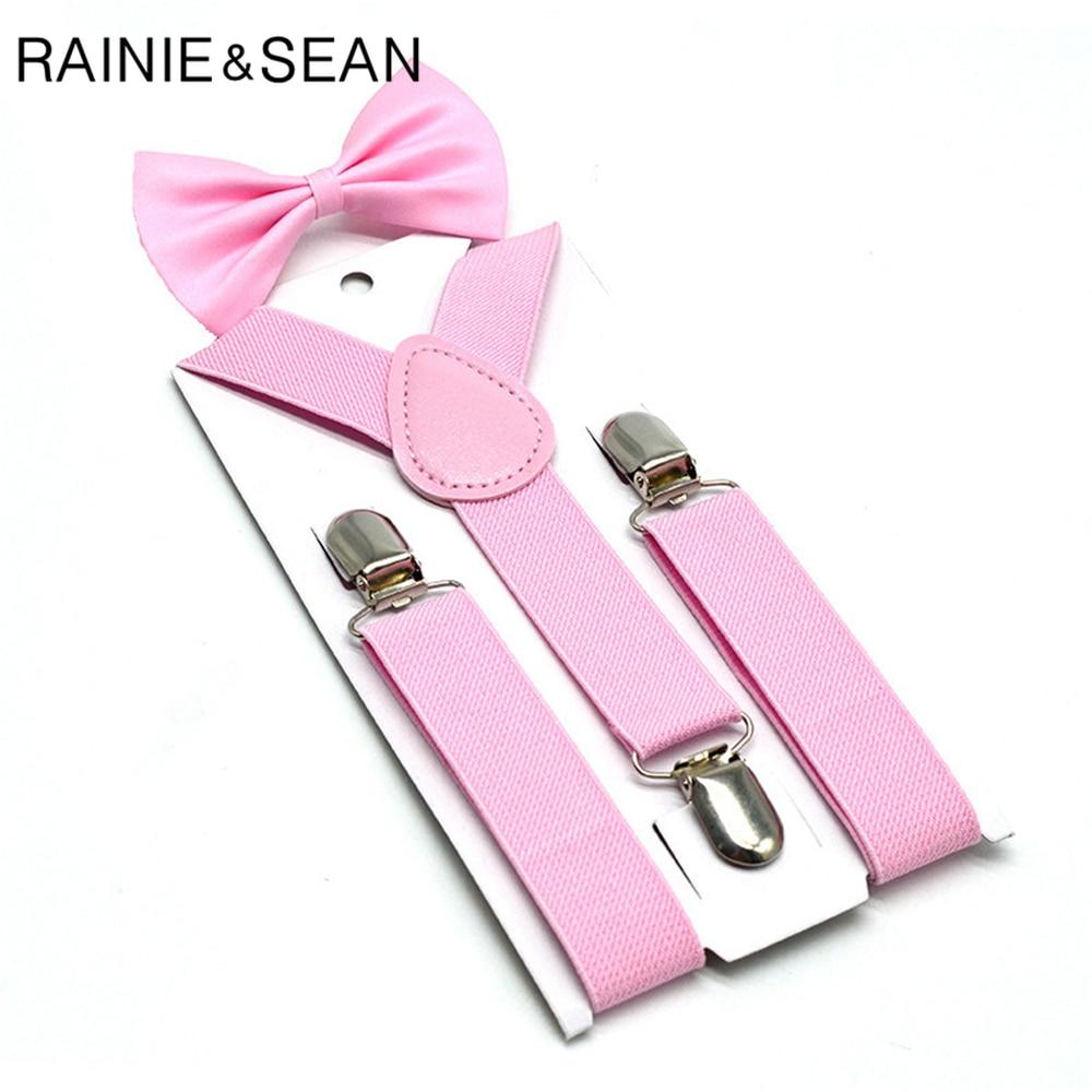 RAINIE SEAN Pink Kids Suspenders Bowtie Set Solid Children Suspender Dress Wedding Baby Girls Braces
