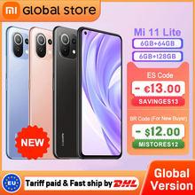 Versão global xiaomi mi 11 lite 6gb 64gb/128gb nfc 4g smartphone snapdragon 732g octa núcleo 64mp câmera traseira 157g luz