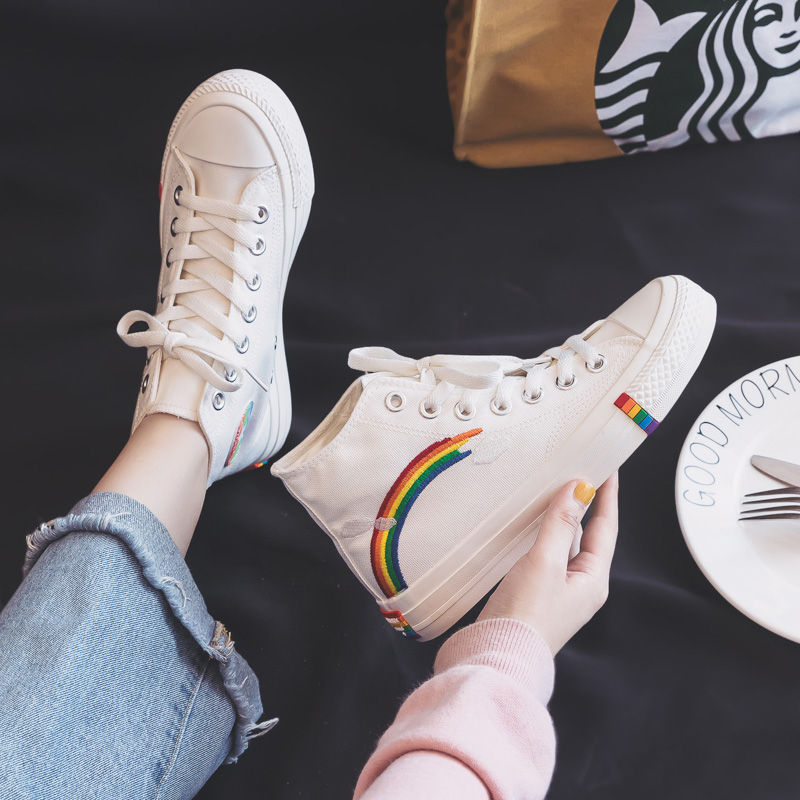 Women's Fashion 2020 Vulcanized Shoes Woman Sneakers New Rainbow Retro Canvas Shoes Flat Fashion Comfortable High Shoes Women 5