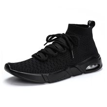 Casual Mesh Shoes Men High Top Black Sock Sneaker Hot Sale Summer Breathable Light Air Running Sport White Trend Outdoor