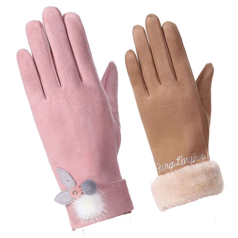 Classic Luvas De Inverno Womens Fashion Winter Outdoor Sport Warm Gloves Mittens Eldiven Solid Pink Guantes Femme 2019